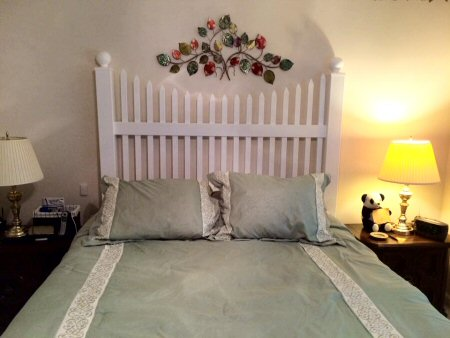 Headboard using fence panel from Security Fence Company, Red Lion, PA